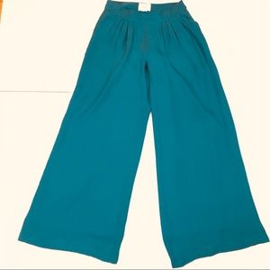 Anthropologie Elevenses Wide Leg Silk Pants Teal